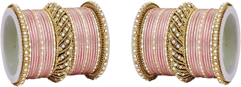 Ratna creation SANARA Indian Bollywood Antique Gold Tone Crystal Stone Made Wedding Matching Costume Bridal Bangles Bracelet Pair Set Jewelry