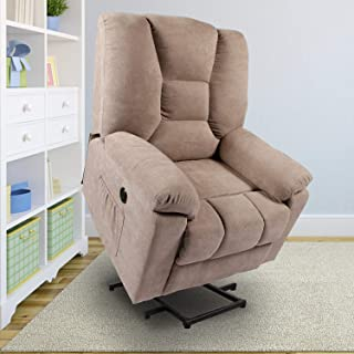 oneinmil Power Lift Recliner Chair - Massage Chairs Full Body and Recliner Heated Lift Chairs for Elderly w/Button & Remote Control USB Charging Ports Fabric Sofa (Beige)