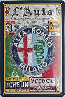 Metalen bord 20 x 30 cm gebogen Alfa Romeo Milano auto garage vintage deco geschenk bord