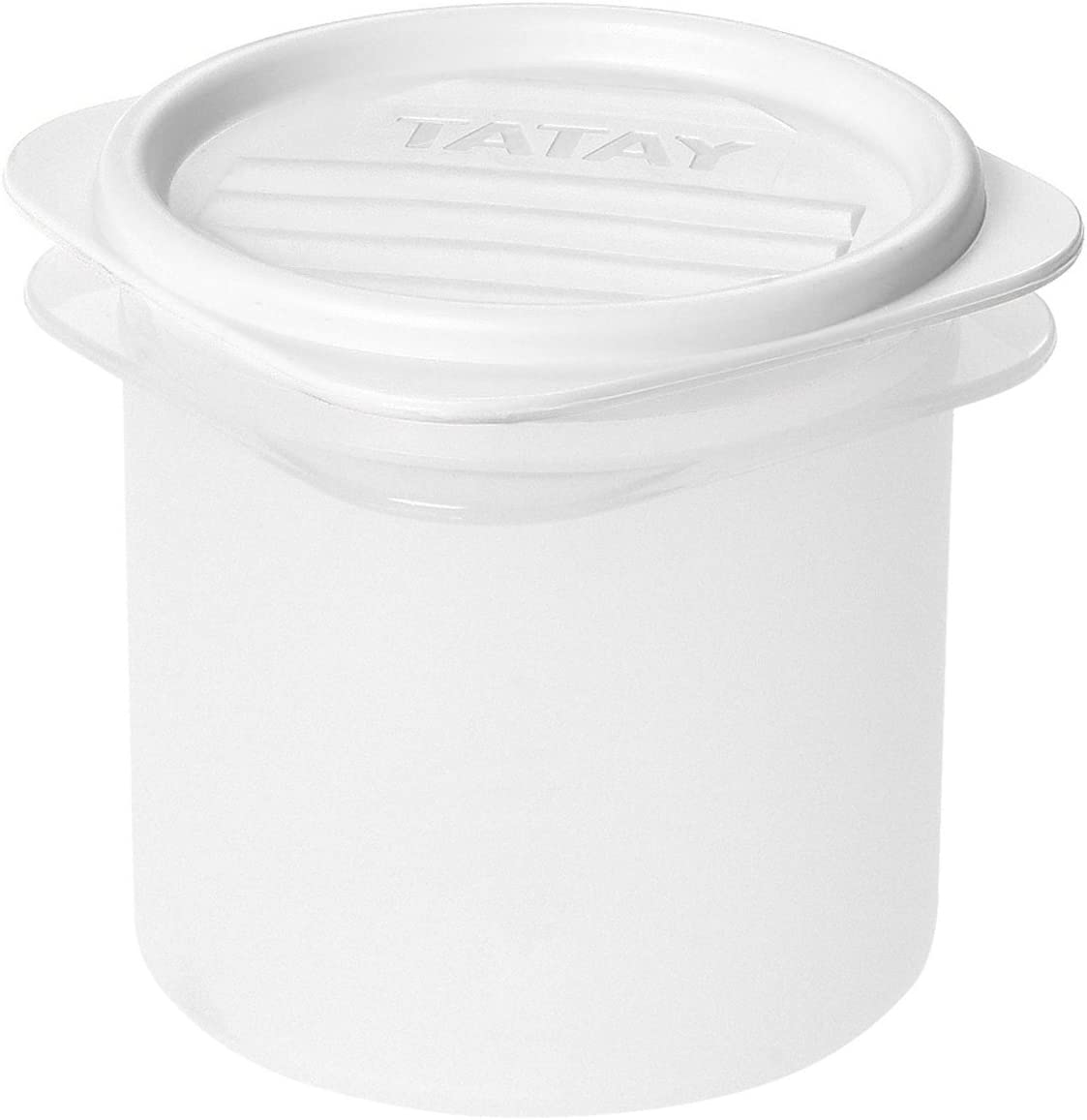Tatay Fiambrera de Alimentos, Hermética, 0.3L de Capacidad, Tapa Flexible a Presión, Libre de BPA, Apto Microondas y Lavavajillas, Color Blanco. Medidas: 8.7 x 8.7 x 8.5 cm