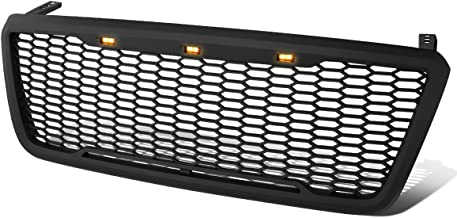 For Ford F150 ABS Matte Black Honeycomb Mesh Front Bumper Grille w/Shell & LED Lights