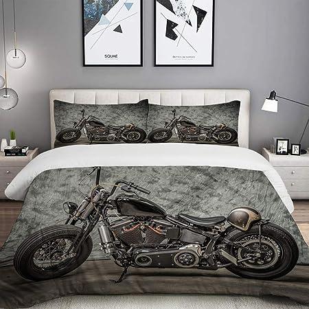 Mobeiti Set Biancheria Da Letto Harley Moto Cool Davidson Vintage Bike Chopper Classic Set Copripiumino In Microfibra Matrimoniale 1 Copripiumino200 X 200cm 2 Federe 50 X 80 Cm Amazon It Casa E Cucina
