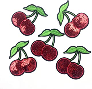 Yalulu 10Pcs 6.57.5CM Cherry Sequins Embroidered Iron On/Sew On Badge Applique Patch for Clothing