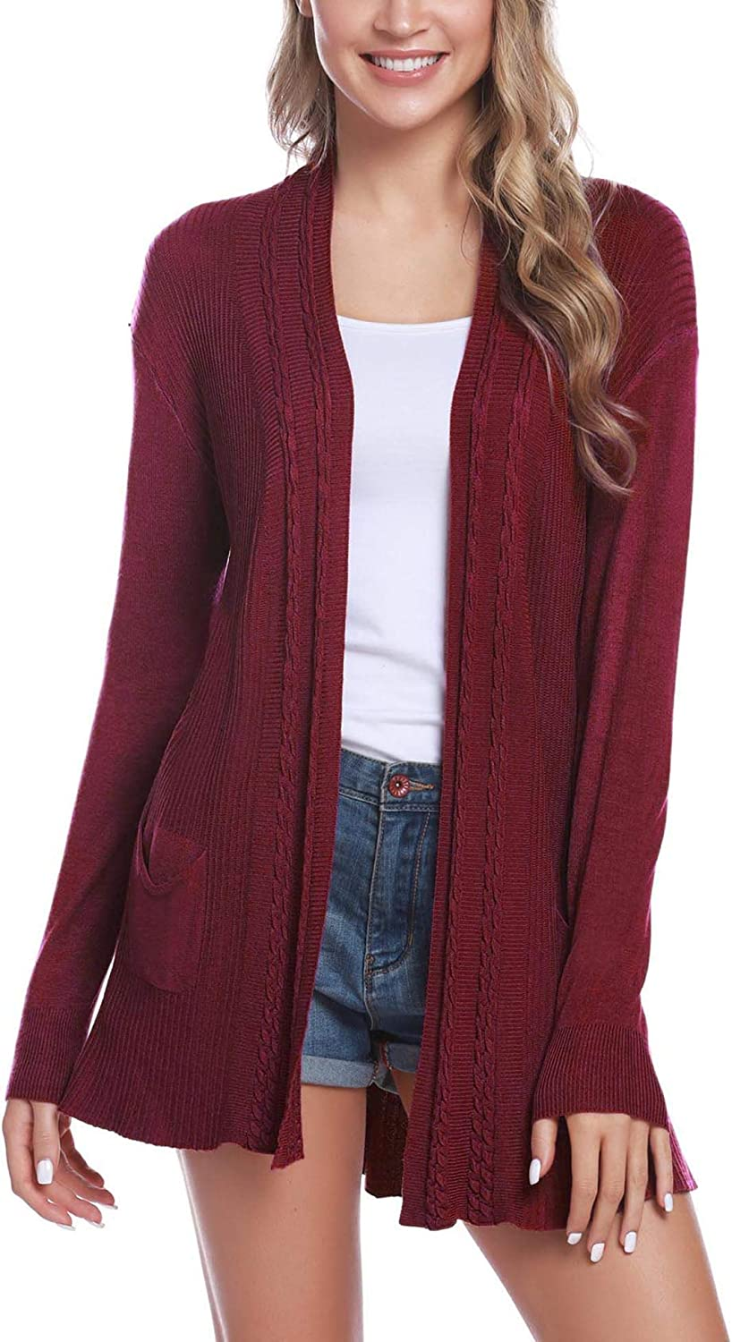 iClosam Womens Casual Knitted Long Sleeve Lightweight Open Front Cardigan Sweater with Pockets