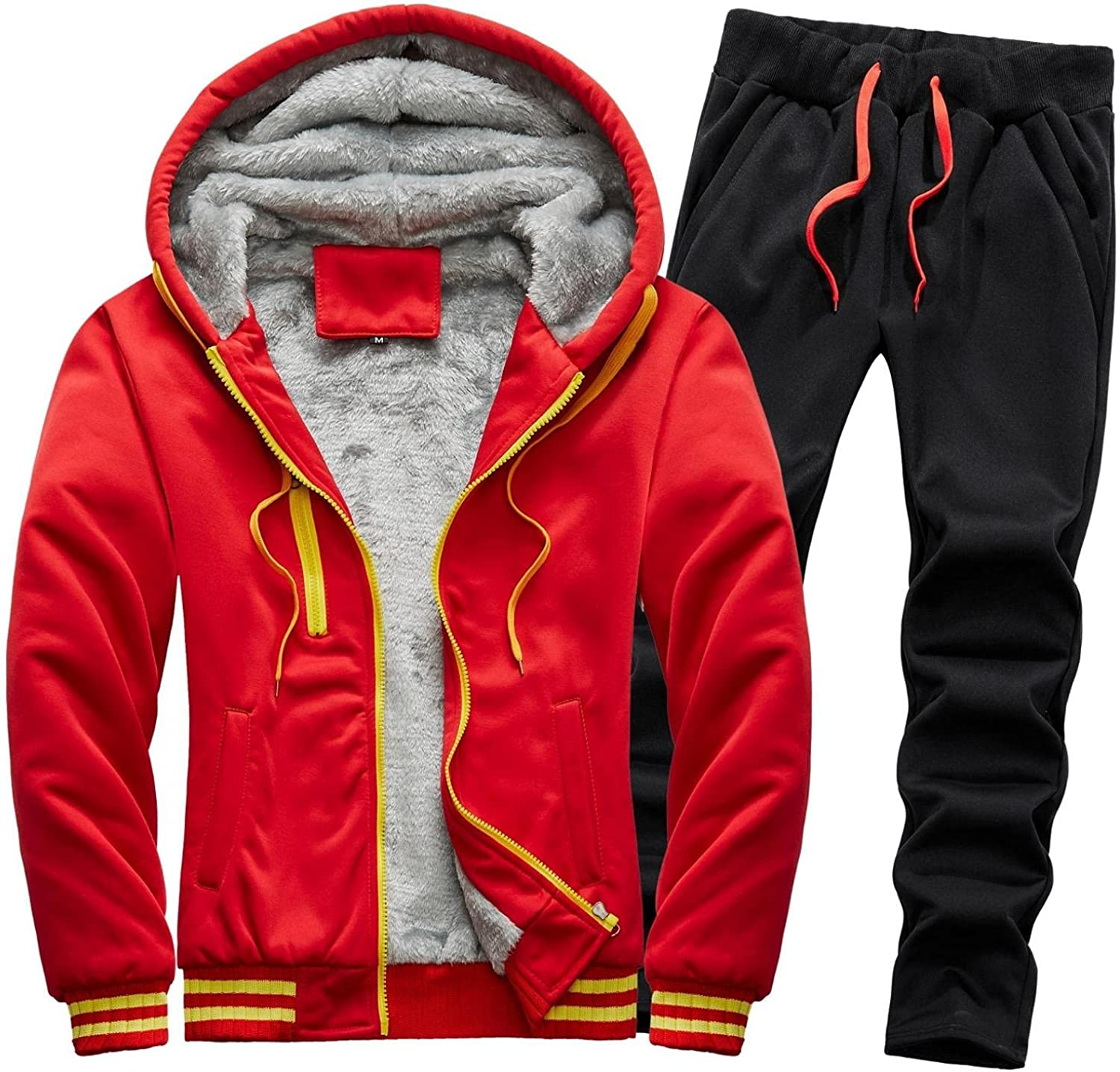 LEIYAN Mens 2 Pieces Outfit Set Casual Long Sleeve Zip Up Sherpa Lined Hooded Jackets Sweatpants Jogging Thermal Suits