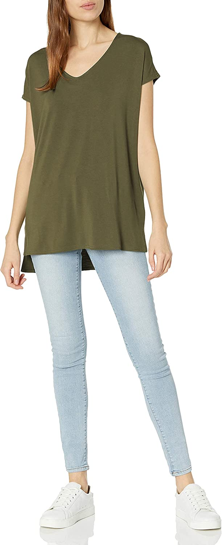 Daily Ritual Women's Jersey Oversized Dolman-Sleeve V-Neck Tunic: Clothing