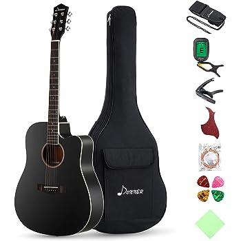 "Donner DAG-1CB Black Beginner Acoustic Guitar Full Size, 41"" Cutaway Guitar Bundle with Gig Bag Tuner Capo Picks Strap String"