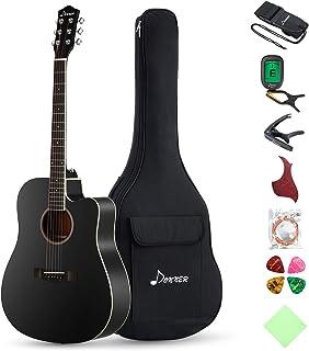 "Donner DAG-1CB Black Alien Guitar Acoustic Full Size، 41 ""بسته بندی گیتار Cutaway با تلوزیون کیسه تونر Capo Picks رشته تسمه"
