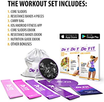 DeFiT Premium Resistance Booty Bands - Thick Elastic Bands for Legs and Butt – Set of 4 Butt Workout Resistance Bands...