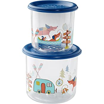 Sugarbooger Good Lunch Snack Containers Large Set-of-Two, Happy Camper