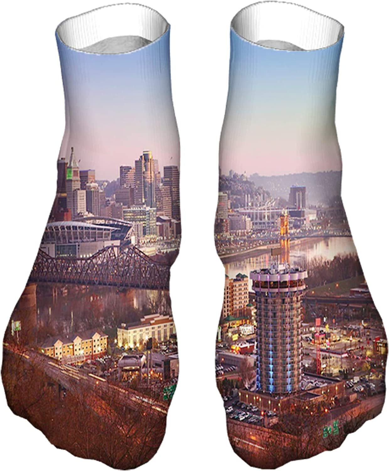Men's and Women's Fun Socks Printed Cool Novelty Funny Socks,Center of The City in Violet Tones Transition Memorial