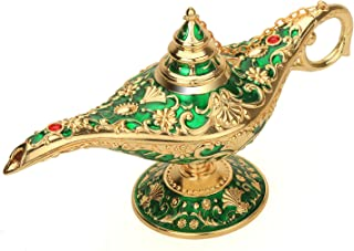 Aladdin Magic Genie Lamp Legend Wishing Light Costume Lamp Metal Carved Incense Burner for Home Tabletop Decoration Party ...