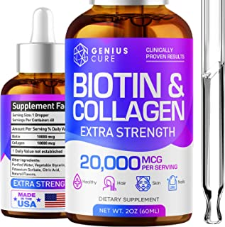 Genius Biotin & Collagen Hair Growth Drops - Potent US Made Hair Growth Product - Healthy Skin & Nails - Liquid Biotin & C...