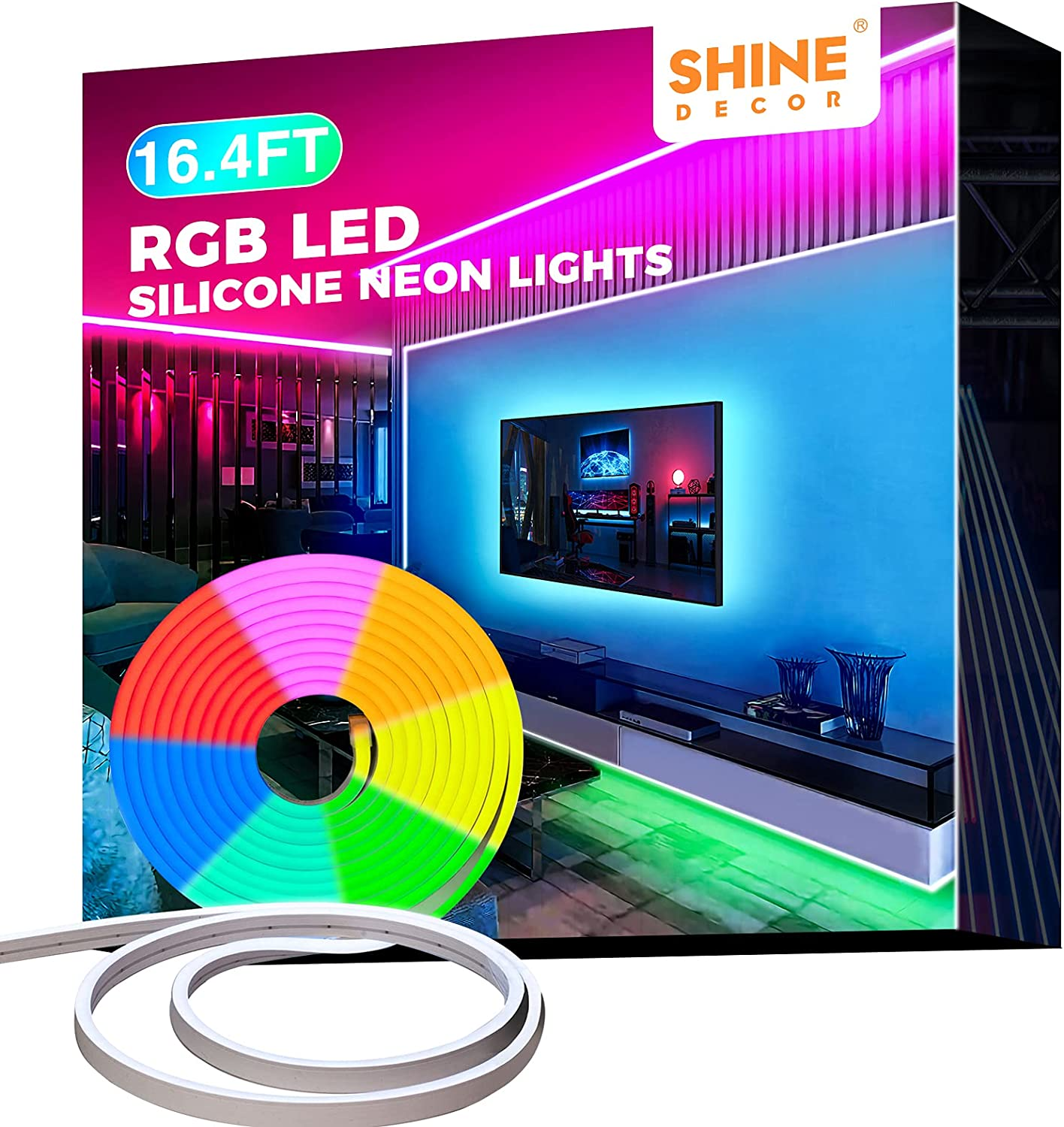 12V LED Baltimore Mall RGB Neon Many popular brands Rope Lights L Silicone Decor 16.4FT Shine