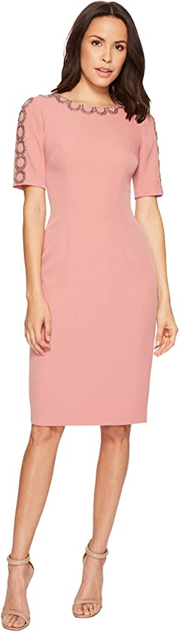 Adrianna Papell - Stretch Crepe Sheath Dress with Jewel Neckline and Embellished Cut Out Work On Neckline and Sleeves, Fully Lined