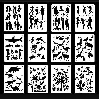 Plantillas de plástico para dibujar y pintar,12 unidades para cuadernos de balas,diarios,cuadernos de dibujo,figuras de animales, árbol de flores,manualidades,kit de plantilla de proyecto