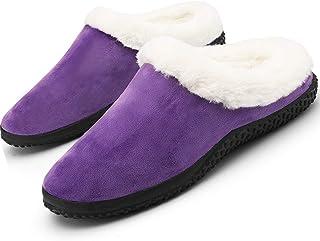 Pantofole da Donna Uomo Inverno Caldo Peluche Morbido Pelliccia Sintetica Scarpe per la casa con Pantofole Stile Mocassino