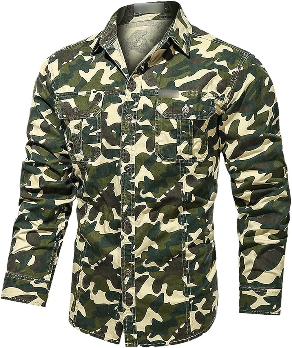 100% Cotton Camouflage Men's Shirt Casual Pocket Long-Sleeved Shirt Men's Spring Print Shirt Men