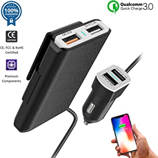 Nano Hertz Multi-Port QC3.0 USB Car Charger Adapter Compatible for iPhone 11/XS/Max/XR/X/8/Plus, iPad Pro/Air/Mini, Samsung Galaxy S10/10+/9/8/Note, LG, Motorola | Cigarette Lighter Charger (Black)