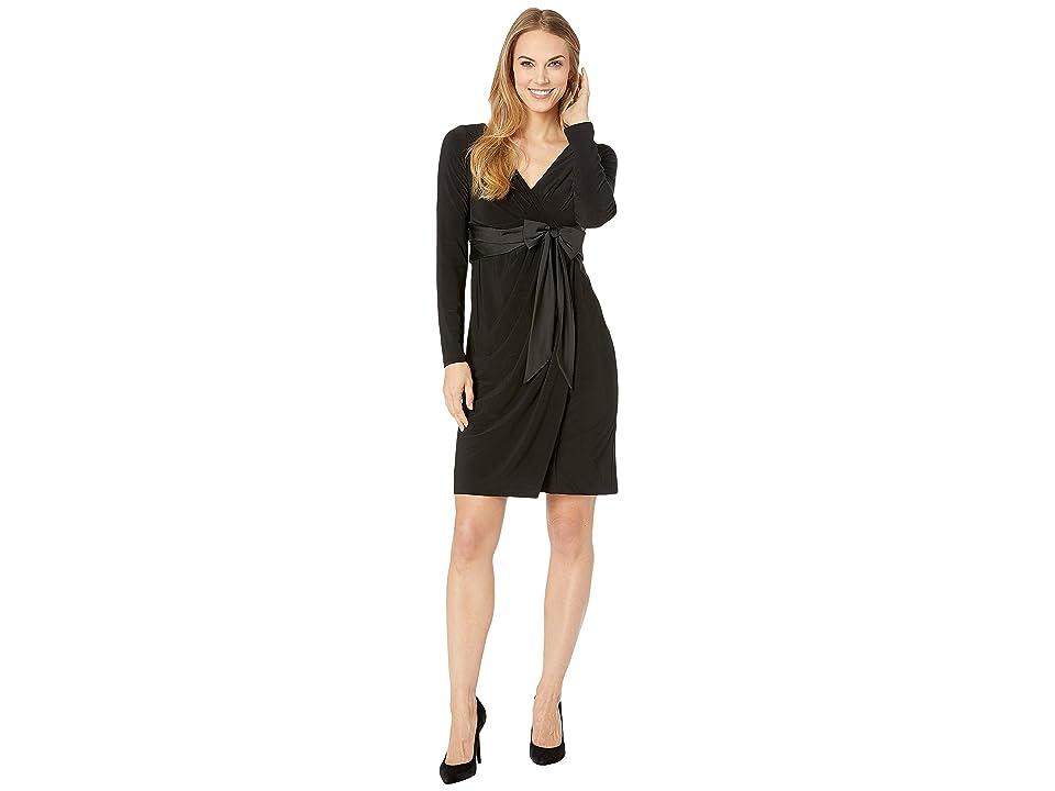 CHAPS Surplice Satin Sash Evening Dress (Black) Women