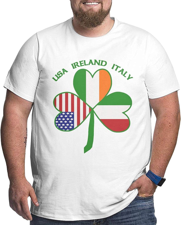 Italian Irish American Shamrock Mens Simple Big Size Summer Outdoor Short Sleeve Round Collar Tops