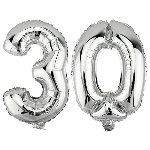 DekoRex Foil Balloons 30 For Air Filling Birthday Celebration Garland 80cm Silver Number