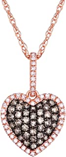 0.37Ct Natural Brown & White Diamond Puffed Dome Heart Pendant With Chain, 10k Rose Gold