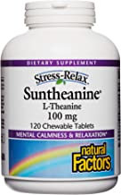 Stress-Relax Chewable Suntheanine L-Theanine 100 mg by Natural Factors, Non-Drowsy Stress Support for Mental Calmness and ...