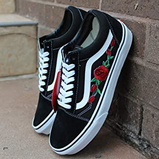 Vans Red Old Skool Embroidered Red Rose Custom Handmade Shoes By Patch Collection