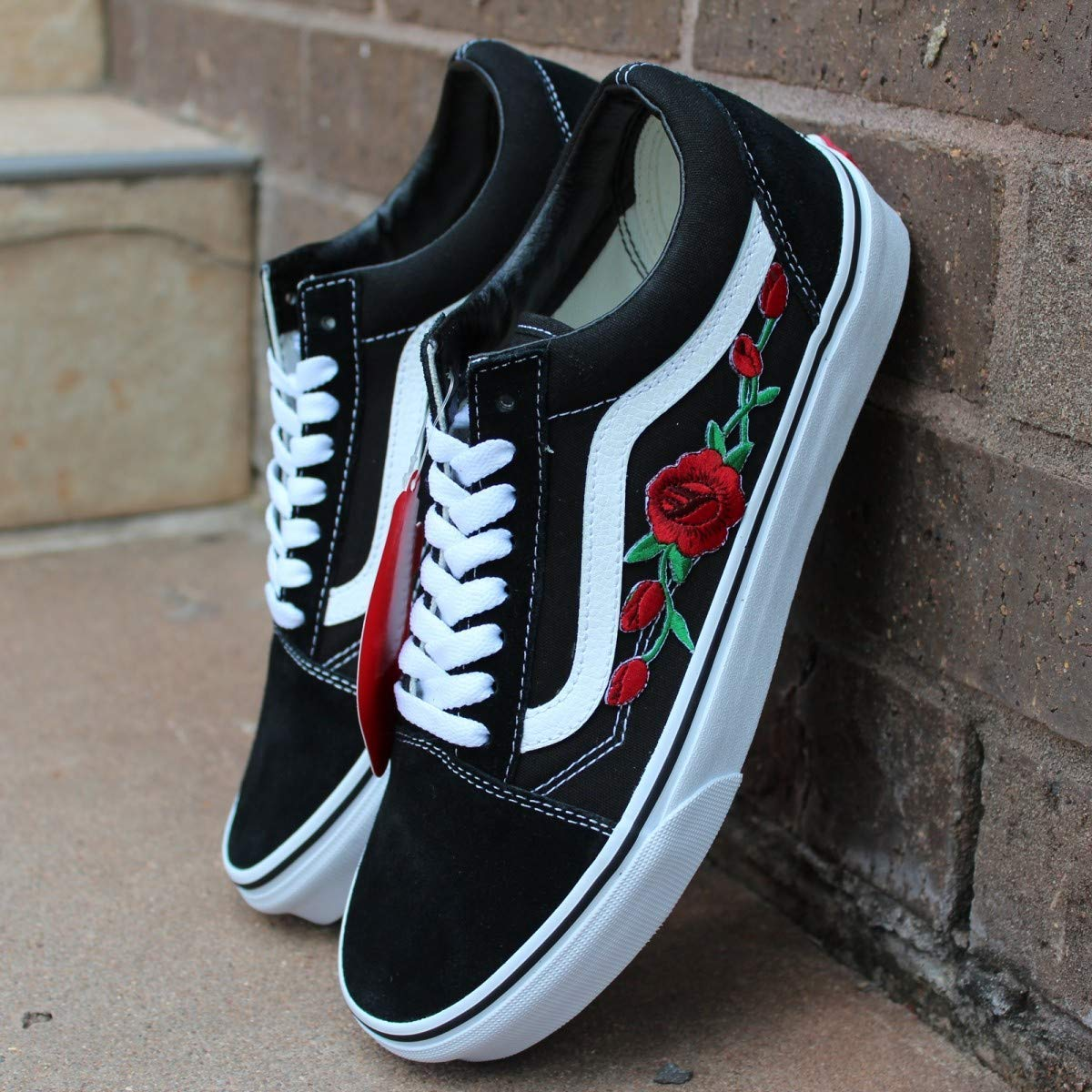 Black Old Skool Embroidered Red Rose Custom Handmade Shoes By Patch Collection