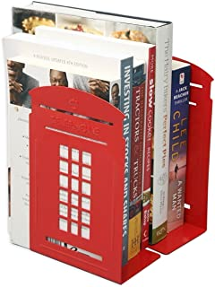 Winterworm Perfect Mother's Day Gift Vintage Fashion British Style London Telephone Booth Kiosk Decorative Iron Metal Bookends Book End Book Organizer For Library School Office Desk Study Gift (Red)