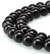 10mm Natural Black Onyx Beads Round Gemstone Loose Beads for Jewelry Making (38-40pcs/strand)