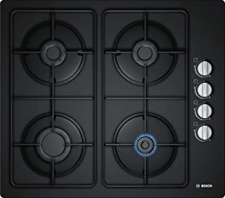 Bosch 60 cm Gas Hob with Integrated controls, Hard Glass, Black - POP6C6B80M, 1 Year Warranty