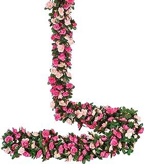 YQing 4 Pièces Artificielle Rose Guirlande, 250cm Roses Fleurs Artificielles Guirlande avec Feuilles de Vert Lierre Mariag...