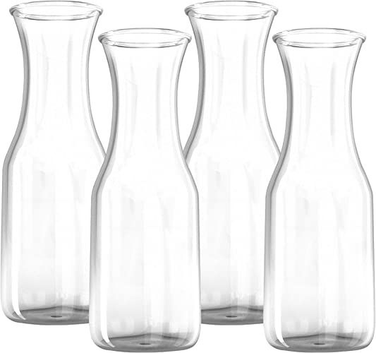 34 oz Glass Carafe – 4 Pack – Drink Pitcher and Elegant Wine Decanter, Comfortable Grip with Narrow Neck Design, Wide Opening for Easy Pouring – Great for Parties and Events – Kitchen Lux