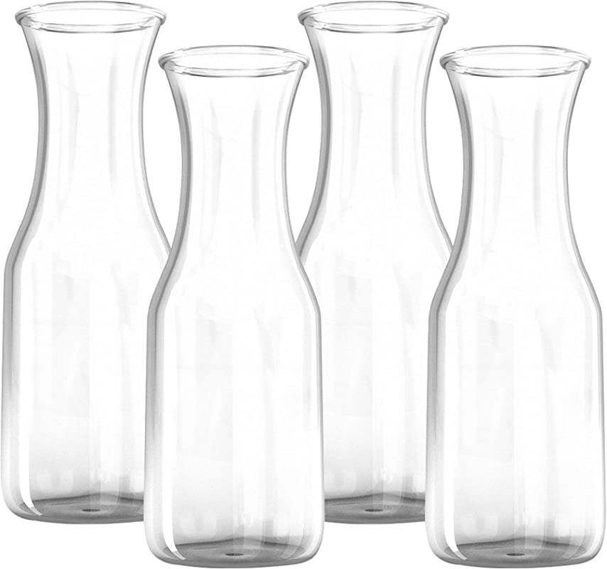 34 Oz Glass Carafe 4 Pack Drink Pitcher And Elegant Wine Decanter Comfortable Grip With Narrow Neck Design Wide Opening For Easy Pouring Great For Parties And Events Kitchen Lux
