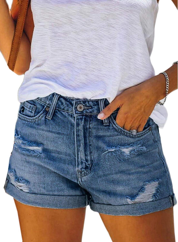 Women 's Washed Denim Shorts Drawstring Elastic Waist Frayed Hem Loose Hot Boho Shorts Jeans (Blue F, XXL)