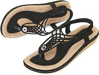 Sandalias Planas Verano Mujer Estilo Bohemia Zapatos de Dedo Sandalias Talla Grande Cinta Casuales Playa Chanclas Romanas de Mujer 2020 Azul Negro Moda