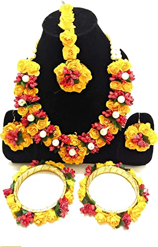 Floret Yellow Gota Patti Nacklace Earring Mang Tika and Bangles for Women Girls Mehandi Haldi Baby Shower