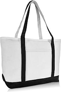 "DALIX 23"" Premium 24 oz. Cotton Canvas Shopping Tote Bag in Black"