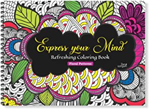 Zen Sangam Express Your Mind Refreshing Coloring Book for Adults and Beginners (Calming Floral Doodle Patterns) - Book 1