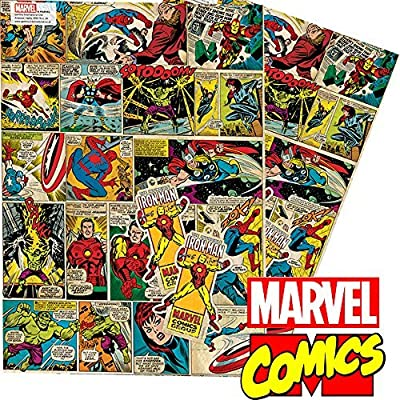 Marvel Comics Vintage Retro Style Gift Wrap and Tags