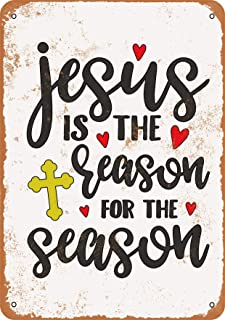 Wall-Color 7 x 10 Metal Sign - Jesus is The Reason for The Season - Vintage Look
