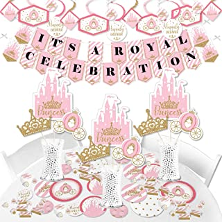 Big Dot of Happiness Little Princess Crown - Pink and Gold Princess Baby Shower or Birthday Party Supplies - Banner Decoration Kit - Fundle Bundle