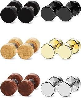 Noir Sevenfly 6 Paires en Acier Inoxydable Noir Poli Simple Faux Bouchons DHalt/ères Forme Piecing Vis Boucles doreilles pour Hommes