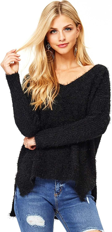 Ambiance Women's Warm Fuzzy VNeck Eyelash Sweater