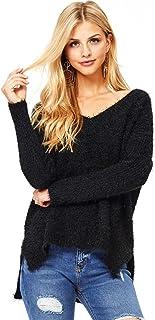 Ambiance Women's Warm Fuzzy V-Neck Eyelash Sweater