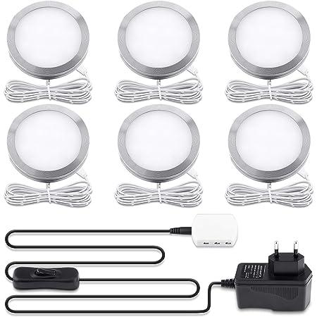 Lampe de Placard LED Éclairage, Lovebay spot LED Intérieur, Rond Ultra slim Blanc Chaud 3000K, pour Salle de Bain, Toilette, Cuisine, Salon, Couloi, Lot de 6