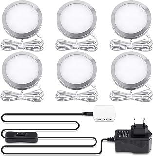 Lampe de Placard LED Éclairage, Lovebay spot LED Intérieur, Rond Ultra slim Blanc Chaud 3000K, pour Salle de Bain, Toilett...