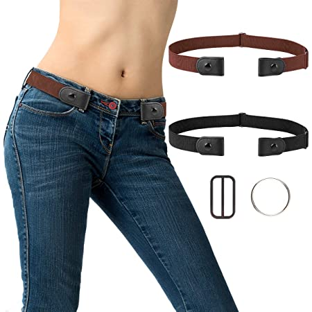 2pcs No Buckle Elastic Belt Invisible Buckle Free Stretch Waist Belt for Women Men Jeans Pants with 2 Extra Buckle